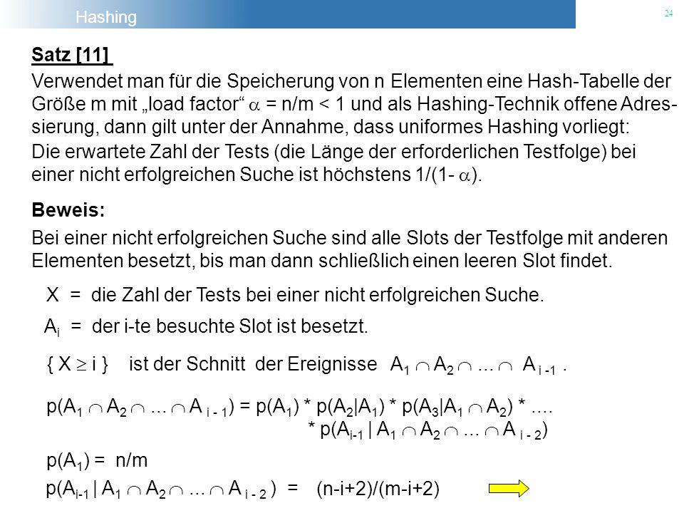 Satz [11] Verwendet man für die Speicherung von n Elementen eine Hash-Tabelle der.